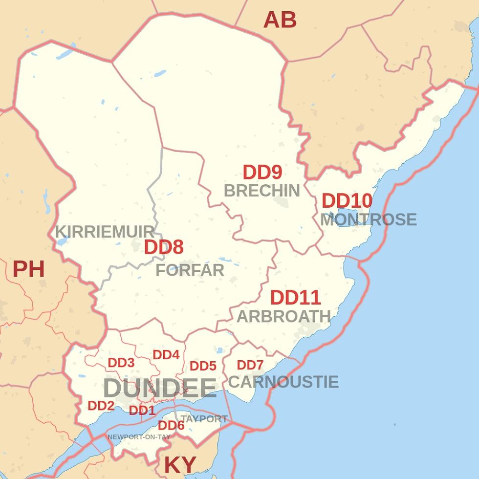 Dundee postcode map